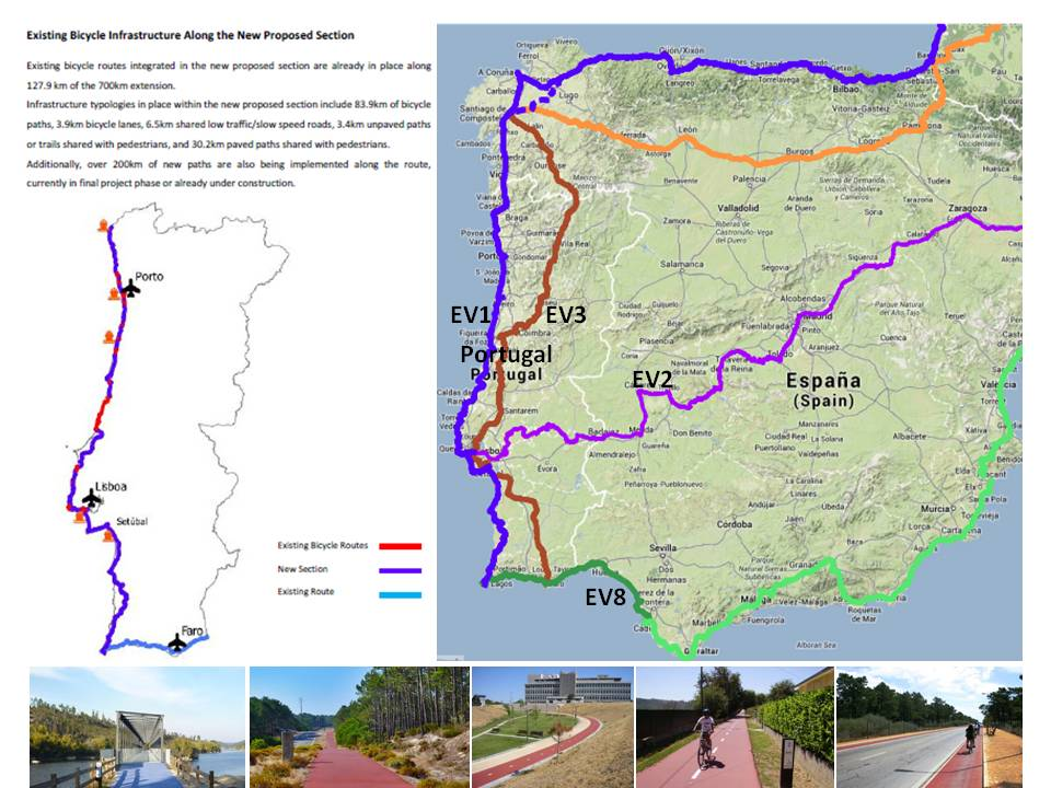 EuroVelo cycle route network expansion in Portugal (with Rosa Felix, FPCUB, 2013)and EV1-Atlantic Coast Route Major Section application (with Rosa Felix, FPCUB, 2014)